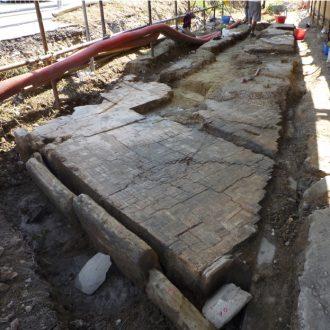 restauro di pavimentazione romana con LEDAN TB1